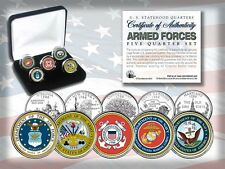 USA  ARMED FORCES STATEHOOD QUARTER 5-COIN SET- GIFT BOX and COA- RARE-GENUINE