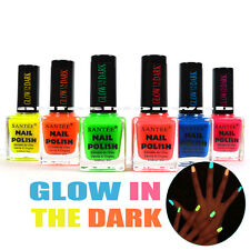 "SANTEE NAIL POLISH "" GLOW IN THE DARK "" LACQUER COLLECTION ! LOT OF 6 FULL SET"