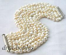 8Strands 8'' White Baroque Freshwater Pearl Bracelet