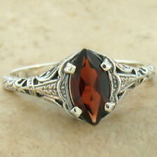 GENUINE GARNET .925 STERLING SILVER ANTIQUE DESIGN RING SIZE 10,            #818
