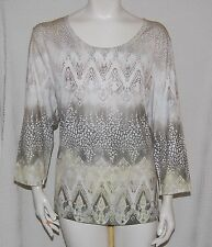ZENERGY BY CHICOS TOP Size 3 (XL 16) Print Tunic Stretch T Shirt Studded EUC