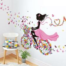 The Floral Butterfly Bike Girl Blackground Wall Stickers For Home Room Decor
