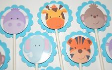 30 BABY SAFARI  NOAH ANIMALS  Cupcake Toppers  Party Favors, Baby Shower 30