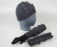 Mütze + Armstulpen Beanie Pulswärmer Cap Stulpen handgestrickt Handschuhe NEU D1
