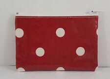 Maroon & White Polka Dot PVC Fabric Handmade Zippy Coin Purse Storage Pouch