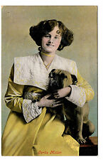 PRETTY LADY ACTRESS WITH A BULLDOG OLD VINTAGE DOG / GLAMOUR POSTCARD