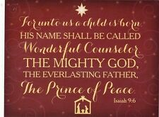 "*Postcard-""For Unto Us A Child is Born...""  Isaiah 9:6- .(See Scans both Sides)"