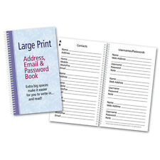 Large Print Address Email Password Book Spiral Bound Organize Online Info 2B