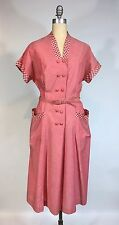 Vintage 1950's 50s Deadstock Red Cotton Frock Dress with belt by BEAL YOUNG XL