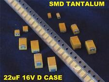SMD 22uF 22 uF 16v D Case Tantalum Capacitors (QTY 100)  *** NEW ***