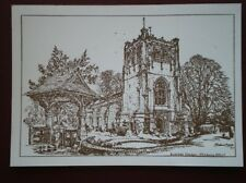 POSTCARD WORCESTERSHIRE TENBURY WELLS - BURFORD CHURCH  PENCIL SKETCH