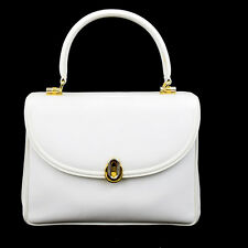 Authentic GUCCI Logos Hand Bag Leather White Gold Italy 09P719