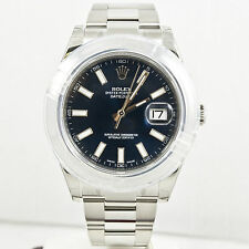 Unused Rolex Mens Datejust II 116300 Steel Watch Blue Stick Dial & Smooth Bezel