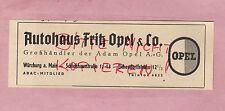 WÜRZBURG, Werbung 1949, Adam Opel AG Opel-Gross-Händler Auto-Haus Fritz Opel