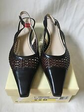 Etienne Aigner Women's Brown Leather Woven Kitten Heels Shoes size 9M