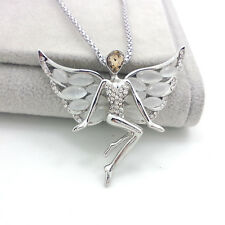 Fashion JJAoy silver Plated angel wings opal sweater chain crystal necklace JJ26