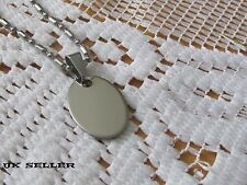 "UNISEX STAINLESS STEEL SMALL OVAL DISC TAG ON 24"" Ball Chain UK SELLER"