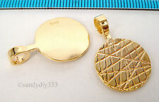 1x REAL 18K GOLD plated STERLING SILVER GLUE ON DROP PENDANT BAIL 16mm G177