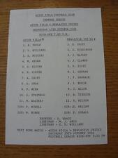 15/10/1986 Aston Villa Reserves v Newcastle United Reserves  (Single Sheet, Scor