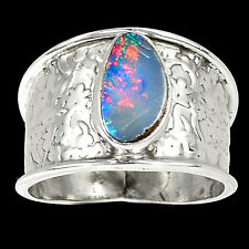 Australian Fire Opal 925 Sterling Silver Ring Jewelry s.9 SR212785