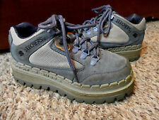 RARE- SKECHERS Tough Shoes Work tennis 6.5 Blue Suede Leather Comfort Hiking