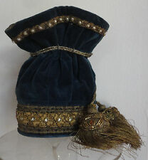 Beautiful Antique Imperial Russian 19th Century Velvet Gold Pearl Ladies Bag