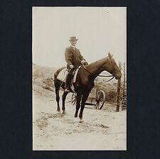 GENTLEMAN & DOG ON HORSEBACK / HERR & HUND ZU PFERDE * Vintage 10s Photo PC