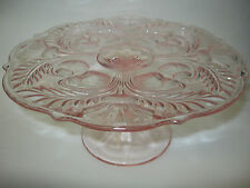 Pink Rose Glass cake serving stand plate platter pedestal thistle dessert raised