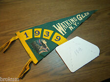 Vintage FELT DATED INSERT 1939 WATKINS GLEN NY PENNANT CHIEF IMAGE FREE SHIPPING