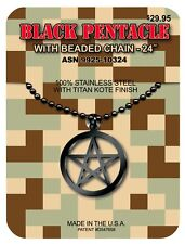 GI JEWELRY - U.S Military, BLACK PENTACLE PENDANT Titan Kote Finish