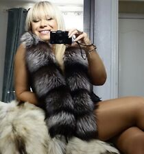 NEW! SILVER FOX FUR STOLE SCARF COLLAR WRAP XL LONG UNISEX
