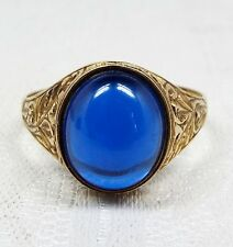 Vintage / 9ct Gold Chunky Blue Cabochon Glass Ornate Mens Signet Ring / Size W
