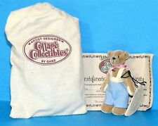 """COTTAGE COLLECTIBLES Miniatures by Ganz BILLY 3"""" Brown BEAR Blue Suspenders COA"""