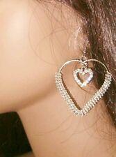 Sexy DIVA Large Double Heart Hoop Earrings W Crystal Rhinestones 1 Pair