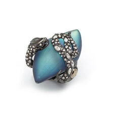 Alexis Bittar 'Lucite - Imperial Noir' Snake Crystal Ring Size 8 Green