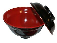 6x Black/Red Melamie Miso Soup Vegetable Bowl With Lid 16oz