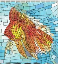 Mosaic Tropical Fish Fabric SHOWER CURTAIN Tile Stained Window Bathroom Decor