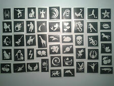 50 x mini small stencils (mixed) for glitter tattoos / face painting  girls boys