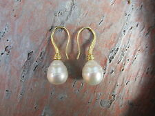 18 KT Yellow Gold & Paspaley South Sea Pearl Earring Shepard Fish Hook NEW Fine