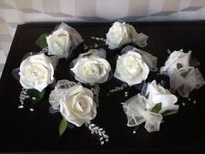 4 x Fiori Matrimonio Avorio Rosa / Avorio Organza Fiocco Sposa SINGLE buttonholes