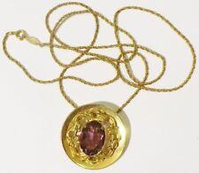 Bijou Vintage pendentif chaine couleur or pierre taillé couleur améthiste * 4641