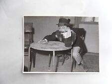 c1960 B/W Photograph. Very Drunk Man at Table. Amateur Dramatic Actor in Play