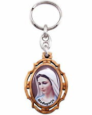 NEW MADE IN ITALY OUR LADY OF MEDJUGORJE FULL COLOR OLIVE WOOD & METAL KEYCHAIN