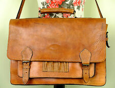 Classic Distressed Rich Tan Brown Leather Satchel Shoulder Bag Moroccan