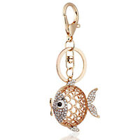Handbag Buckle Charm Accessories Lucky Gold Hollow Fish Keyrings Key Chains HK70