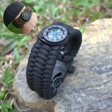 Paracord Survival Bracelet Compass/Flint/Fire Starter/Whistle Camping Gear Kit