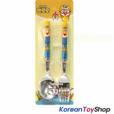 Pororo Simple Stainless Steel Spoon Fork Set / BPA Free / Made in Korea