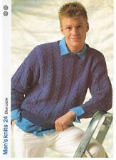 BLUE CABLE knitting pattern,sweater - Marshall Cavendish pamphlet MK24