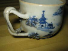 BLUE & WHITE Chinese JIAQING 嘉慶 era tea cup. Ornate braded handle. #1 of 2.
