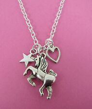 "Girls Silver Unicorn Heart & Star Charm Cluster 18"" Necklace New in Gift Bag"